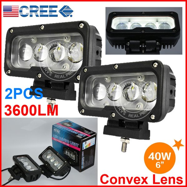 """DHL 2PCS 6"""" 40W CREE 4LED*(10W) Driving Work Light Rectangle Offroad SUV ATV 4WD 4x4 Spot Beam 9-60V 3600lm Auto Truck Forklift Convex Lens"""