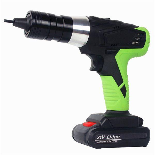 free shipping 21v portable cordless electric rivet gun rechargeable riveter battery riveting tool pull rivet nut tool 2 battery M3/M4 head