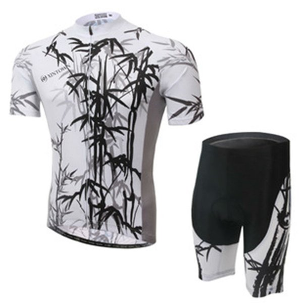 New Arrival XINTOWN Brand Summer Spring Men's Women's Ramboo Print Short Sleeve Cycling Jersey Bike Bicycle Shirt + Shorts Sports Set Suit