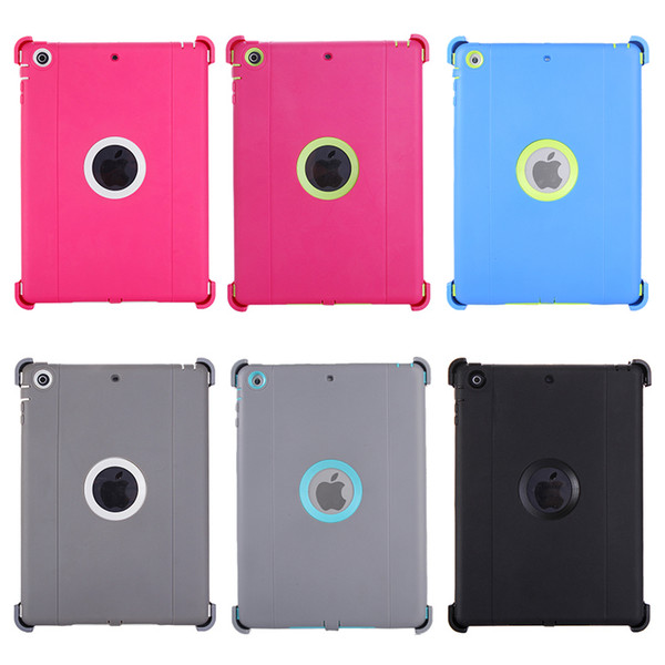 50PCS For ipad air Luxury Heavy Duty Screen Protect Clip Shell silicone Holster Kickstand Plastic Case Cover Back for Apple iPad 5 air