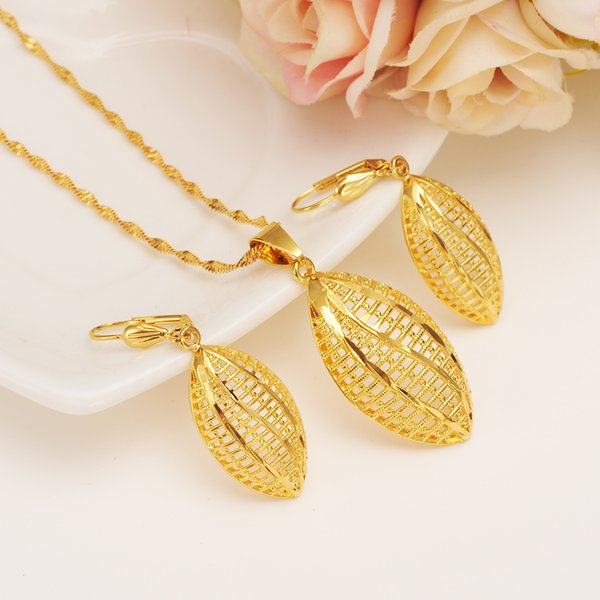 Ethiopian Set Jewelry Necklace pendant Earrings Eritrea ethnic jewelry Habesha Set For Girl Gold African Bridal Sets best gift