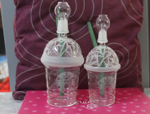 SANDBLASTED STARBUCKS GLAS BUBBLER OIL RIG Abtupfen Konzentrat Ölplattform HITMAN GLAS X EVOL GLAS DABUCCINO CUP Blatt 10mm 14,5mm 18mm