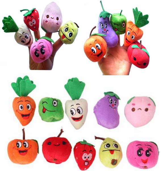 1000PCS/LOT DHL Fedex Velvet Fruit Vegetable Finger Puppets Baby Kids Children Toys finger Puppet Dolls/Toys Story-telling Props/Tools Toy