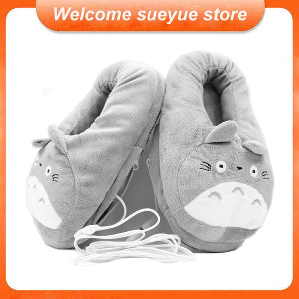 Atacado-Frete Grátis 3D Meu Vizinho Totoro Macio Chinelo De Pelúcia Cosplay Aquecimento Dos Desenhos Animados USB Aquecedor Chinelos de Inverno Sapatos Casa Interior