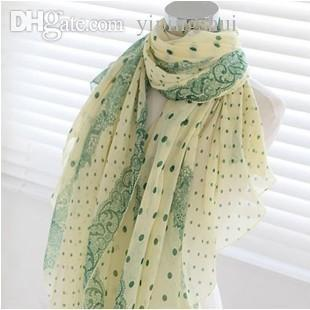Wholesale-2015 New arrival Brand fashion female Design style lace dot scarf Bohemia Long Cotton scarf Gift Voile big Shawl free shipping
