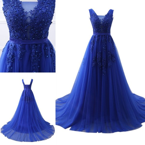 best selling Real Royal Blue V-neck Evening Dresses Lace up Back Tulle Satin Sweep Train Formal Evening Gowns Vestido De Noche Prom Dresses