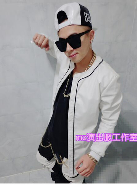 Male singer han edition fashion club in Europe and the runway looks white long leather trench coat costumes coat. S - 6 xl