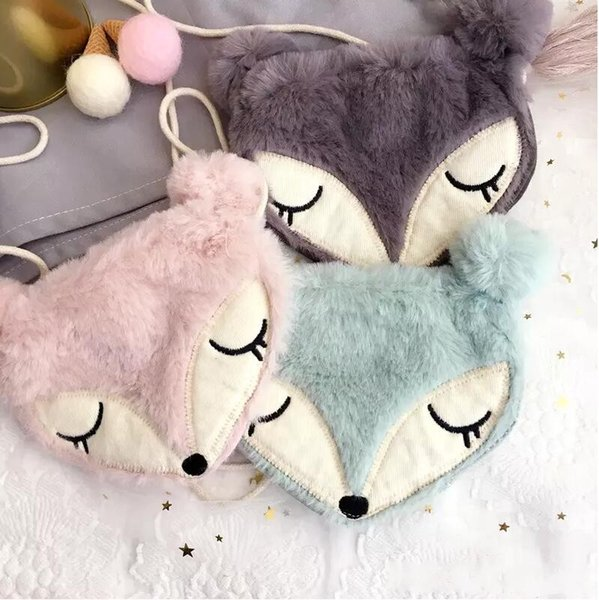 Girls Coin Purse Lovely Plush Winter Children One Shoulder Bag Coin Bag Cute Fox Girls Messenger Bag Baby Gifts