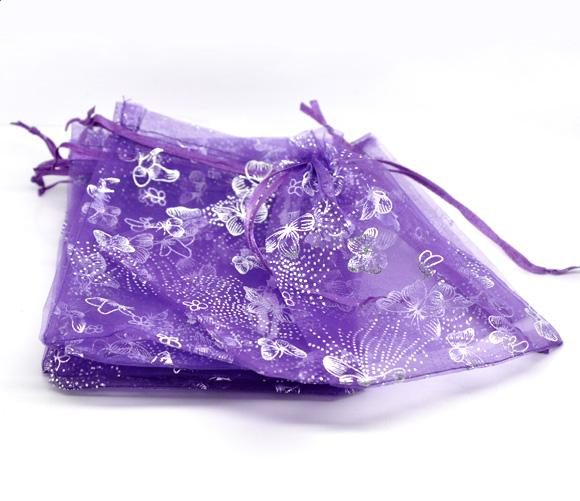 Wholesale-50Pcs 13x16cm Dark purple Butterfly Organza Wedding Gift Jewelry Bags&Pouches (Over $110 Free Express)