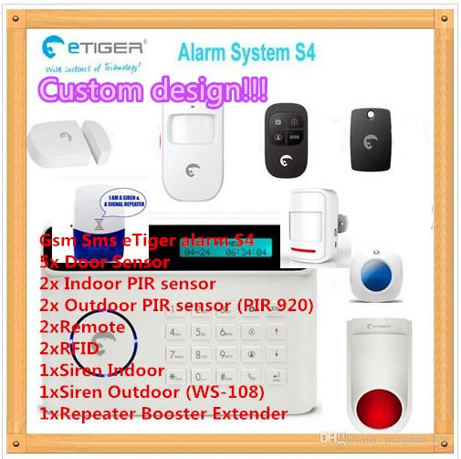 Custom design!!! Radio Frequency 433mhz good signal intruder alarm for home security gsm with LCD and German French Spanish English Free DHL