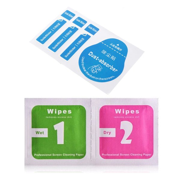 Wholesale Wet Dry Wipes + Dust-absorber Cleaning Cloth For Iphone Samsung Ipad HTC Cleaning Tools for Tempered Glass Screen Protector