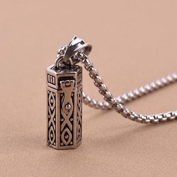 Cremation Jewelry Openable Ashes Pendant Urn Keepsake Memorial Vintage Pet Ash Necklace Real Titanium Steel Joyas Ashes Holder GZ202