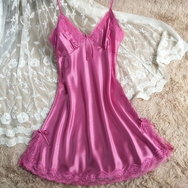 Wholesale- 2017 Women Sexy Lace V neck Faux Silk Satin sleepwear Sleeveless Nightgowns Night Sleep Dress