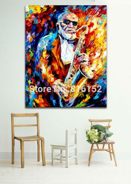 Jazz Music Saxophone Musician Palette Knife Oil Painting Picture Printed On Canvas For Home Office Hotel Wall Art Decor