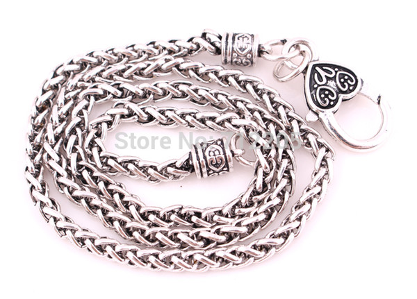 New Arrival Free ship Lobster Claw Wheat Link Necklace Chain with Large Clasp with two-tone silver wheat links Necklaces Chains