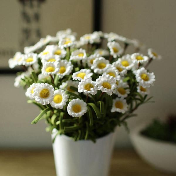 Wholesale- 1 Bouquet 8 Heads Artificiale falso Margherita fiore di seta a casa decorazione di nozze Fiore