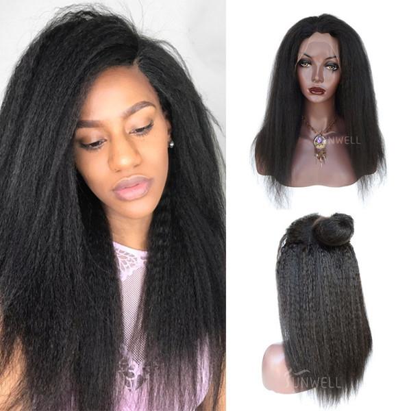 Full Lace Perruques De Cheveux Humains Vierge Péruvienne Kinky Droite Glueless Avant De Dentelle Perruques De Cheveux Humains Italien Yaki
