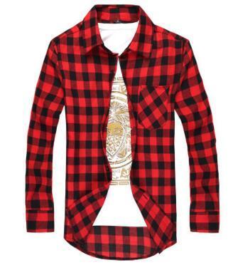 Los hombres de moda de manga larga de franela de la camisa de tela escocesa de los hombres a cuadros camisas de vestir delgado elegante envío gratis