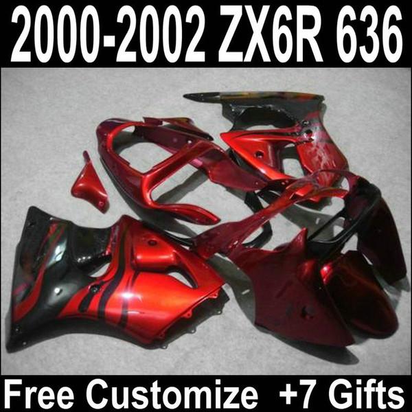 Verkaufskarosserie für Kawasaki zx6r Verkleidungskit 2000 2001 2002 rot schwarz Ninja ZX-6R 00 01 02 AR62