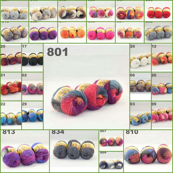 top popular 3ballsx50g Australia colorful hand-knitted thick yarn wool segment dyed coarse lines fancy knitting baby hats scarves 522801-522820 2021