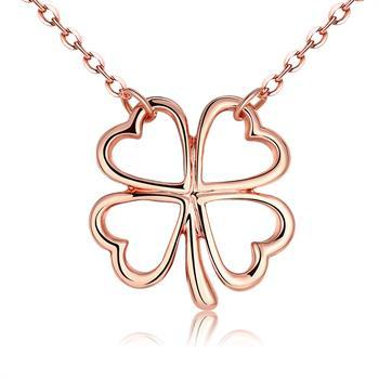 Gold Chain Hollow Hearts Leaf Pendant Necklace Four leaf Clover Charm Necklace Charms Brand Jewelry for Women Girls