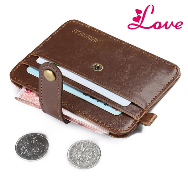 LUCIA'S 100% genuine leather men wallets women real leather crazy horse wallet one piece bag money male purse mini purse small thin