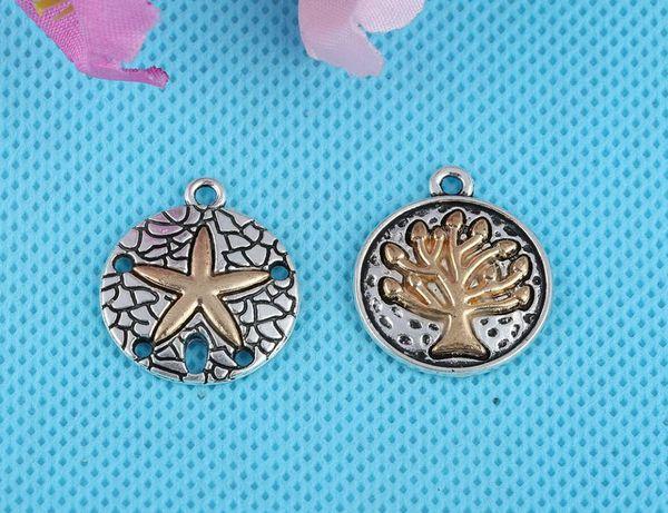 Античное серебро резное золото дерево жизни морская звезда подвески подвески сплав для браслета ожерелье ювелирных изделий решений DIY 23x20 мм