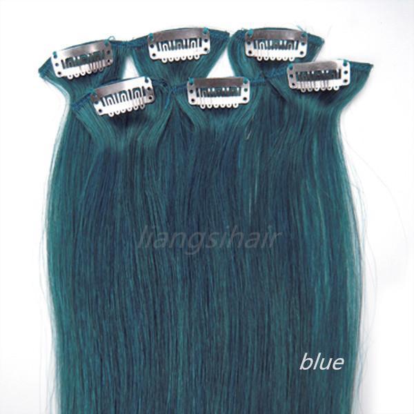 "Chinese Hair Brazilian virgin Remy Human Hair Extensions Clip in Hair bundles 20"" 6pcs 36g Blue color"