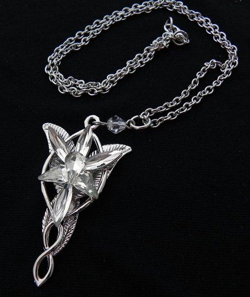 Alta Qualidade Senhor dos Anéis Arwen Evenstar Pingente de Colar de pedras de Cristal / Colar de Aragão / Torque Colar de Prata de Amor Coletores