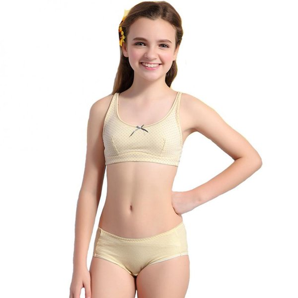 2pcslot 2016 Girls Puberty Underwear Sets Dot Health Cotton Bra And Matching Pants S1045