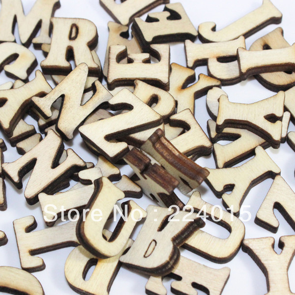Wholesale-Freeshipping Mixed 300pcs Original Wood Color Natural Wooden Cabochon Alphabet Letter Bead For Children's Christmas Gift