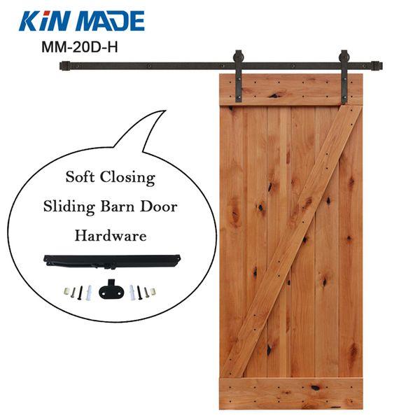 top popular KIN MADE USA warehouse Soft Close Sliding Barn Door Hardware Kit For Wooden Closet Door Cabinet Door 2019