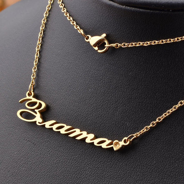 Wholesale 2016 18K Gold Plated 925 Sterling Silver Customized Name Pendent  Necklace Personalized Jewelry Customizable Name Pendants For Necklaces