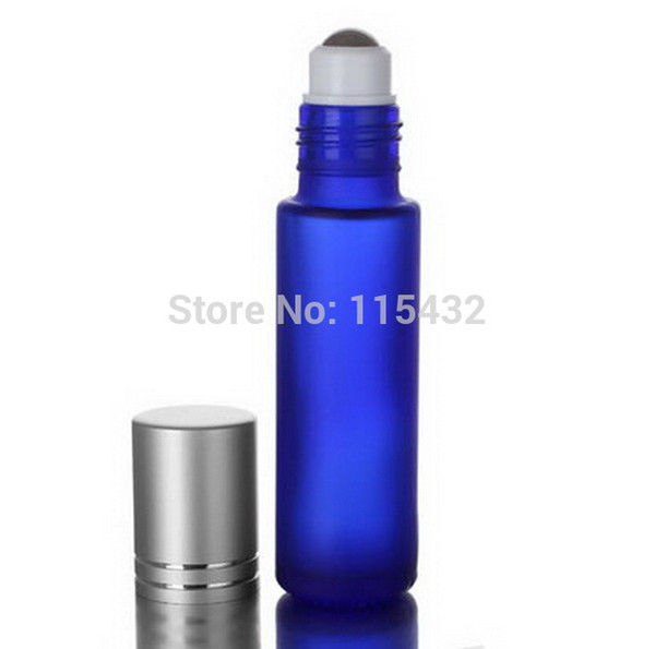Cosmetic refillable FROSTED 10ml (1/3oz) cobalt blue glass roll on bottle Essential oils Fragrances with aluminum Cap BY DHL/EMS Free Ship