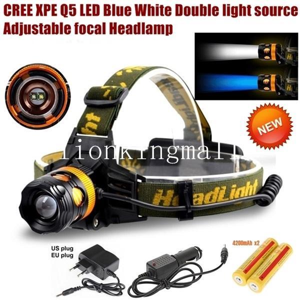 AloneFire HP82 Cree XPE Q5 2 LED Mavi beyaz Çift ışık kaynağı Zoom led Far Far 2 x 1866 ile şarj edilebilir pil / AC şarj /
