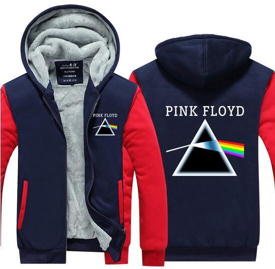 Thicken Sudadera polar con capucha Invierno manga larga Pink Floyd chaqueta impresa con capucha Divertida sudadera con capucha Hipster espesar Zip Up Cool Top tamaño EU EE. UU.