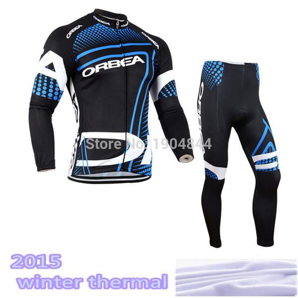 Toptan Satış - 2015 orbea Pro bisiklet forması Polar termal Kış bisiklet giyim Uzun set / MTB JEL Pad Bib pantolon seti Sıcak Satış