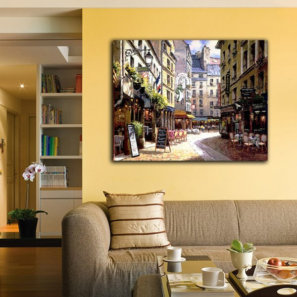 Landscape Venice Scene Afternoon Street Coffee Shop Small House Modern Wall Oil Painting Printed On Canvas For Home Decoration