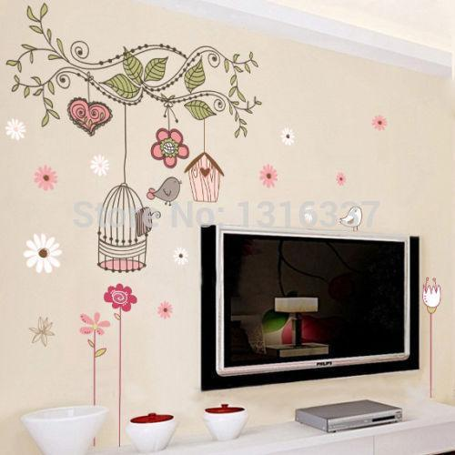 Large Birdcage Flower Vines Mural Wall Sticker Kids Room Decor DIY Vinyl Decal