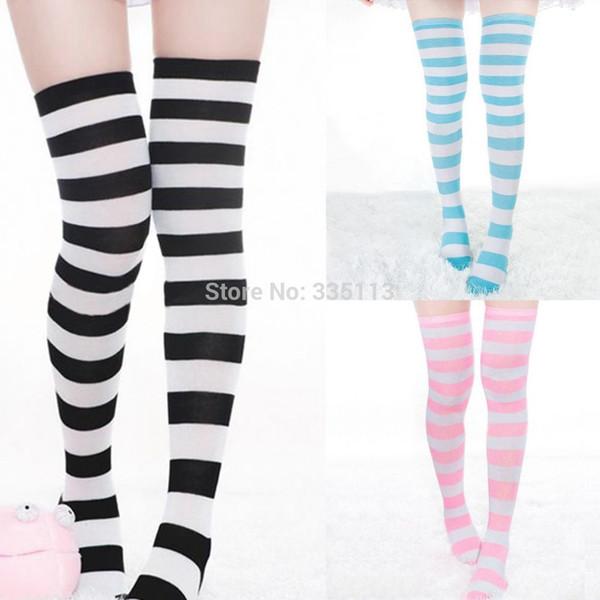 1 Çift Seksi Yeni Diz Üzerinde Yüksek Uzun Çorap Çizgili Bayanlar Kadınlar Için 3 Renk 2014 Kış Sıcak Çorap