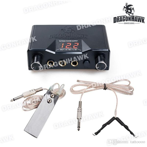Tattoo LCD Digital Power Supply Foot Switch Foot Pedal Clip Cord Power Cord Tattoo Dual Power System WP069+WE002+WY002