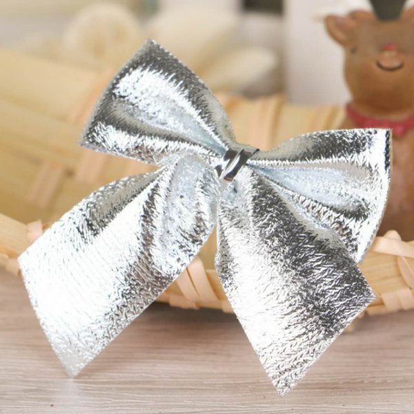 2017 hot Christmas decorations Christmas tree hang decoration Small bowknot red gold and silver 12 dresses free shipping