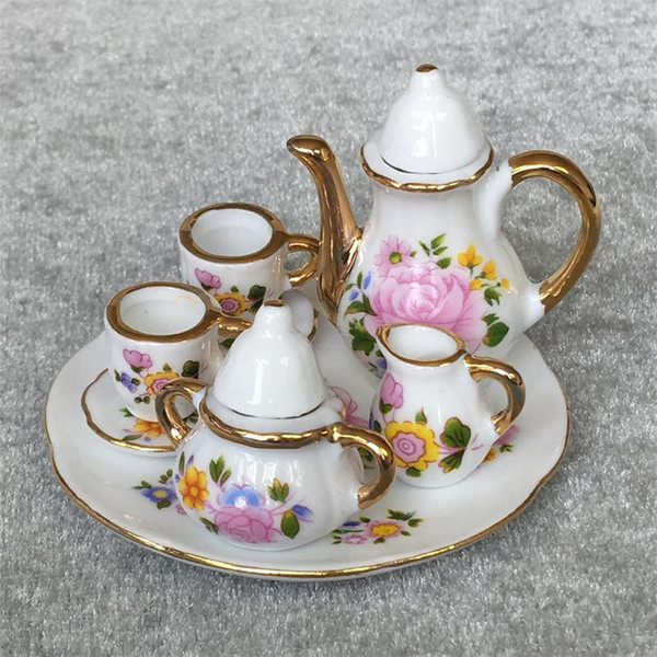 top popular 8pcs Dining Ware Porcelain Tea Set Dish Cup Plate 1 6 Dollhouse Miniature -Pink Rose 2021
