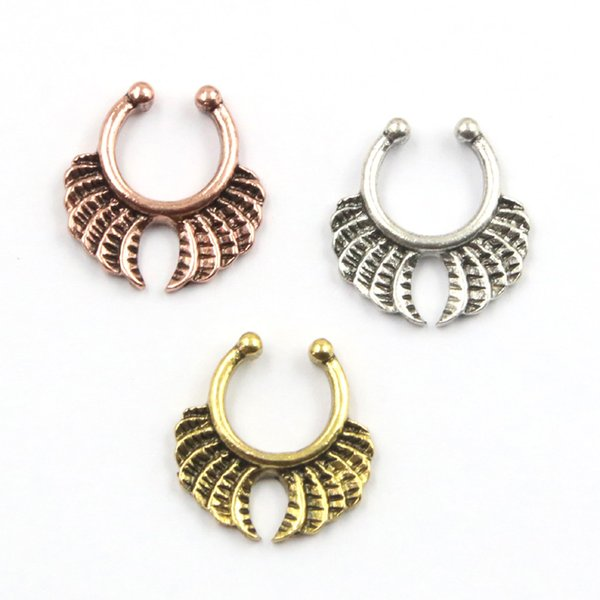 10pcs silver and rose gold indian nose ring alloy clip on hoop nose rings fake piercing septo for women body jewelry N0048