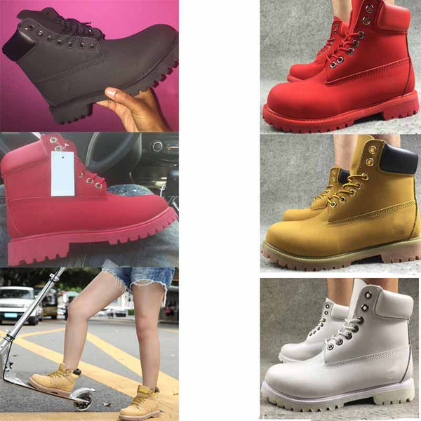 Top Brand Cool white Yellow Boot Fashion Leather Waterproof Men Women boots Winter Walking Boot for Camping Hiking Shoes Work Boots EUR36-46