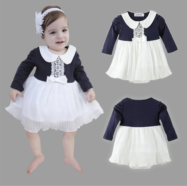 2018 New Spring Fashion Infant Girl Romper Dresses Patchwork Baby Girl Clothing Newborn Cotton Lace Jumpsuits Gown Dress Baby Clothes