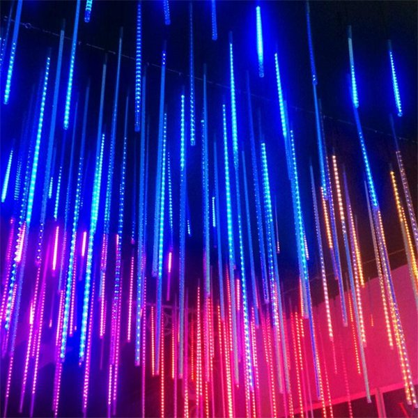 8pcs 50cm Blue White RGB Snowfall waterproof LED Meteor Shower Rain Tubes Light for Party Wedding Outdoor Decoration Christmas Holiday