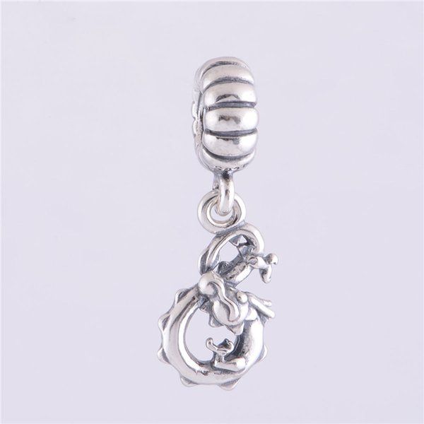 CHINESE DRAGON DANGLE CHARM DIY Beads Real Solid 925 Sterling Silver Not Plated Fits Original Pandora Bracelets & Bangles & Necklaces
