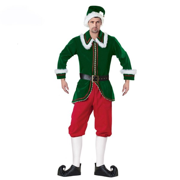 Mascot clothing Adult Men Deluxe Santa Claus Christmas Costumes Santa Uniform Xmas Costume ( Jacket+Pants+Belt+ Hat+Shoe Covers)