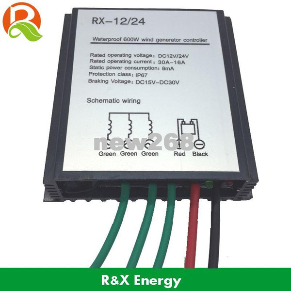 Upgraded wind charge controller for 100-600w wind turbine generator, waterproof wind regulator 12V/24V auto distinguish
